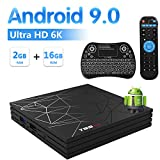 T95 MAX Android 9.0 TV Box con Mini Teclado Inalámbrico Iluminado, 2GB RAM 16GB ROM Allwinner H6 Quad Core Cortex-A53 CPU Mali-T720MP2 GPU 6K 4K H.265 Resolución 100M LAN Enternet 2.4GHz WiFi USB 3.0