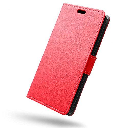 SLEO Wileyfox Spark x Hülle, Leder Case PU Ledertasche Magnet [Vollständigen Schutz] Flip Case mit Standfunktion Kartenfächer im Bookstyle für Wileyfox Spark x - Rot