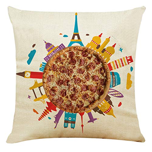 erthome Home Decor Kissenbezug Delicious Pizza Style Kissenbezug Dekokissenbezüge (45cm x 45cm, G)