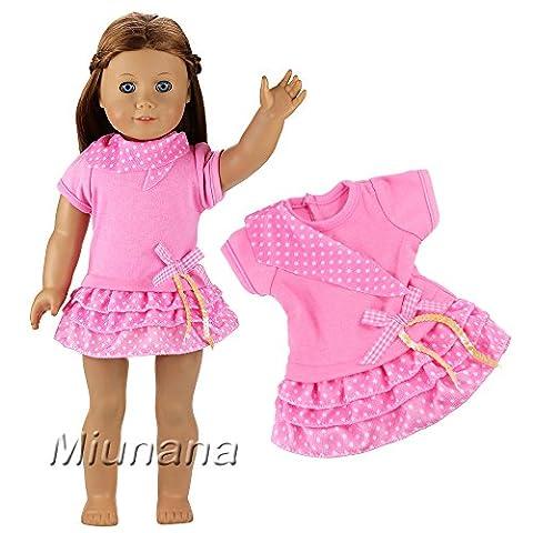Miunana Kleidung Kleider Dress Clothes Puppen Fashion für 46-50 cm Götz Puppenkleidung 18 Inch Doll Puppen American Girl Stehpuppen