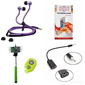 KONARRK 4 in 1 Combo of Selfie Stick Green, Zipper Earphones Purple, Handsfree Splitter Black and Tempered Glass for XOLO ERA