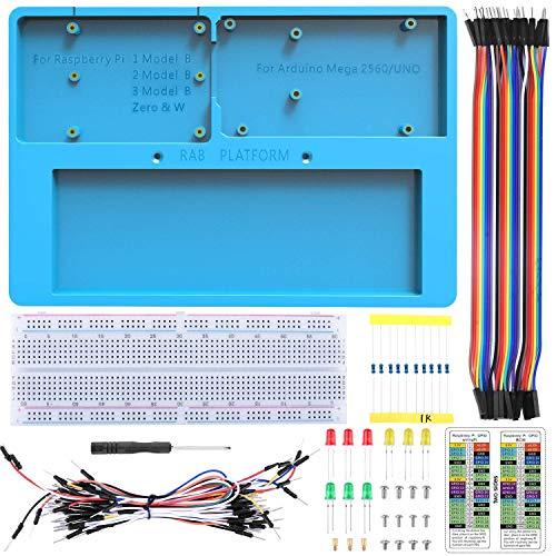14 en 1 Protoboard con Soporte RAB para Arduino UNOR3, Mega 2560 y Raspberry Pi 3 2 1 Model B+ RPI Zero W y Zero (UA032)