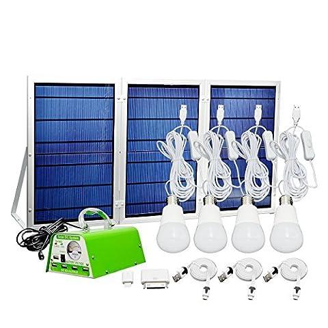 Système d'éclairage solaire Portable pour téléphone Mobile Home & éclairage de secours Banque de puissance pour activités intérieures et extérieures, camping, en cas d'urgence, les pique-niques, Etc (2 en 1)