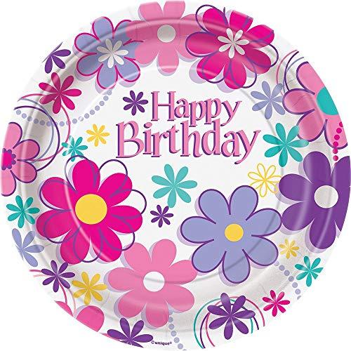 Partido Ênico 18 cm Platos Cumpleaños Fiesta Flor (paquete de 8)