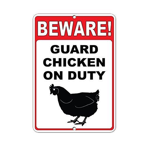 Vorsicht. Guard Huhn On Duty Zitat Aluminium Metall Schild Geschenk für Herren Safety Sign Yard