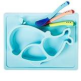 GBOAT Baby Kleinkinder Kinder Silikon Tischset Rutschfest Teller Geschirr und 3 Silikon Farbwechsel Löffel