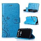 Beiuns Funda de PU piel para Samsung Galaxy Trend 2 Lite (4 pulgadas) (no para Samsung Galaxy Trend Lite and Trend 2) Carcasa - R149 azul hermoso