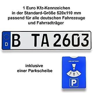 TA TradeArea 1 DIN-zertifiziertes Kfz-Kennzeichen in der Standard-Größe 520x110 mm inklusive Parkscheibe passend für alle Deutschen Fahrzeuge und Fahrradträger (1 Kennzeichen)