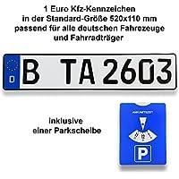 TA TradeArea 1 DIN-zertifiziertes Kfz-Kennzeichen in der Standard-Größe 520x110 mm inklusive Parkscheibe passend für alle Deutschen Fahrzeuge und Fahrradträger