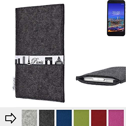 flat.design für Vestel 5530 Schutzhülle Handy Case Skyline mit Webband Paris - Maßanfertigung der Schutztasche Handy Hülle aus 100% Wollfilz (anthrazit) für Vestel 5530
