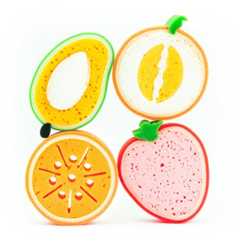 MANITY 4er-Schwamm-Set Freche Früchtchen - Badeschwamm, Körperschwamm, Duschschwamm, Massageschwamm, Haushaltsschwamm, Spülschwamm, Küchenschwamm, 4 Mikrofaserschwämme in Früchteformen