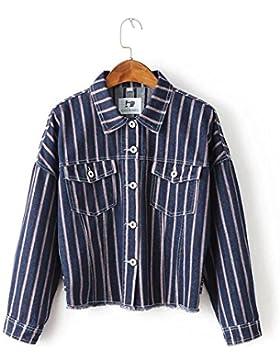 Ropa casual coreano flojo versión rayas verticales de manga murciélago del dril de algodón chaqueta de las mujeres...