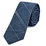 DonDon Herren Krawatte 6 cm gestreift Baumwolle jeansblau