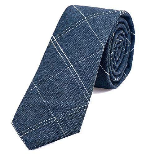 DonDon Corbata de rayas de algodón para hombres de 6 cm - vaquero azu rayado