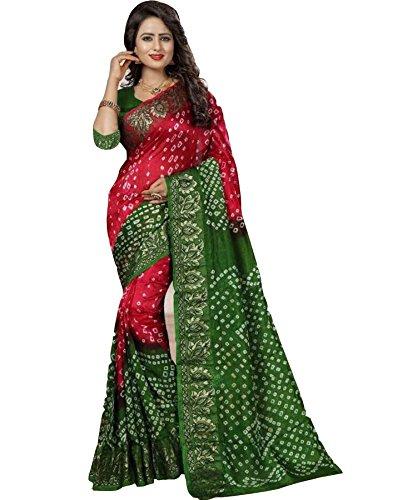 SHIVALIKA TEX Bhagalpuri Saree With Blouse Piece (Bandhani_Perot_182_Pink Parrot_Free Size)