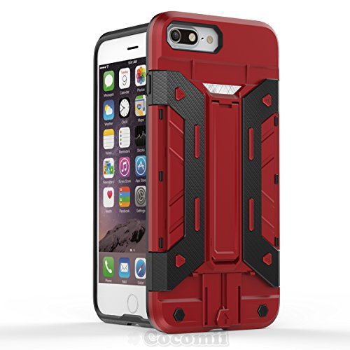 iPhone 8 Plus / 7 Plus Hülle, Cocomii Transformer Armor NEW [Heavy Duty] Premium Built-in Multi Card Holder Kickstand Shockproof Hard Bumper Shell [Military Defender] Full Body Dual Layer Rugged Cover Red