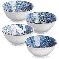 Y YHY - Cuencos de cerámica para sopa, ensalada, pasta, arroz, 24 onzas ramen, apto para microondas y lavavajillas, varios diseños azules y blancos, juego de 4