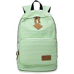 Minetom Tela Tejida Lona Backpack Mochilas Escolares Mochila Escolar Casual Bolsa Viaje Moda Mujer Colorido Rayas Verde One Size(29*17*45 Cm)