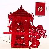 BC Worldwide Ltd main fait main 3D pop up carte de mariage double bonheur mariage chinois mariée antique oriental grand jour bonne chance berline nuptiale Saint Valentin