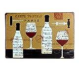 Lumanuby 1x Retro Postcard Stil Plakat für die Bar Flasche und Wein Tasse Bild Vintage Schild mit Poststempel Metall Zeichen Wandposter für die Bar/Club/Restaurant, Bar Sprüche Serie Size 20*30cm