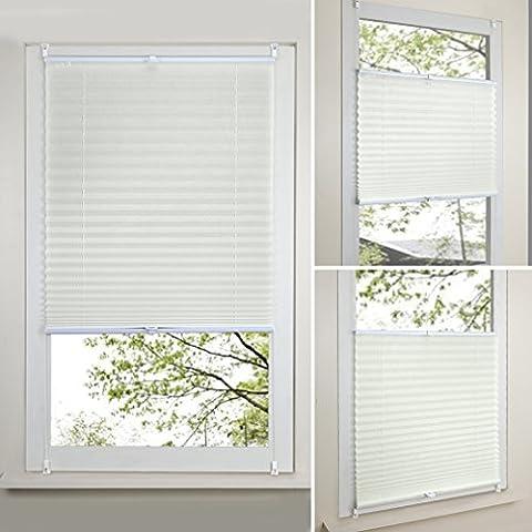 SHINY HOME 90x130cm Beige Plissee Rollo Jalousie Klemmfix Faltrollo Faltstore ohne Bohren für Fenster ink.