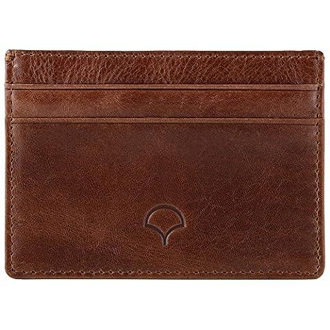 Genuine Leather Credit Card Holder Wallet & Giftbox, Walnut Brown