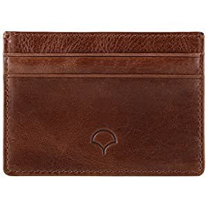 Genuine Leather Credit Card Holder Wallet & Giftbox, Walnut Brown - RFID Blocking, 5 Pockets, Slim Design