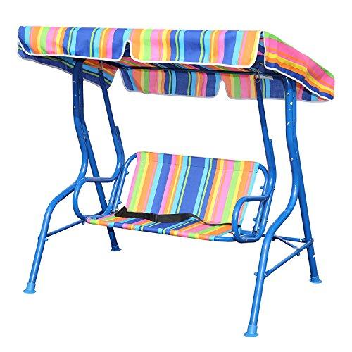 Angel Living Kinder Hollywoodschaukel mit Sitzgurt 2 Sitzer Gartenschaukel mit Sonnenschutz aus Stahl