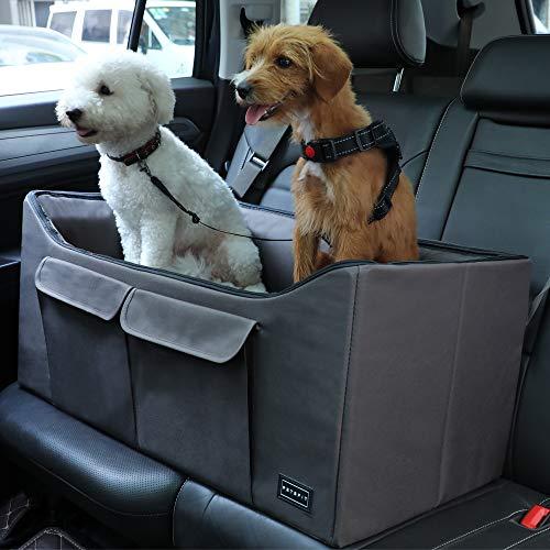 Petsfit Lookout Autositz für 2 kleine Hunde oder mittelgroße Hunde bis zu 45 kg, mit großen Taschen
