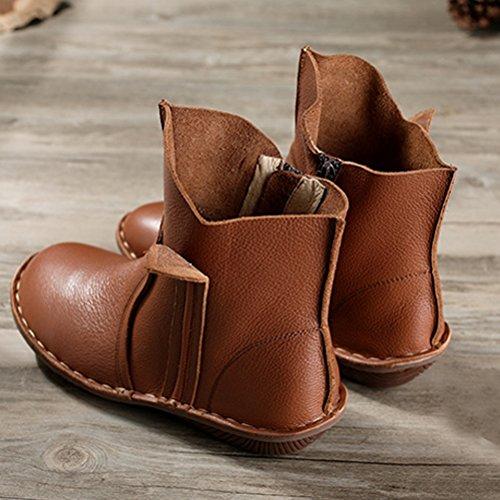Vogstyle Femme Chaussures Plates en Cuir Plein Couleur Style-3 Brun