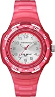 Timex Children's Quartz Watch with Silver Dial Analogue Display and Red Resin Strap TW5M06500