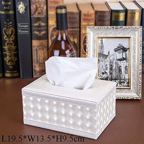 TOTO Bianco rombi continentale Tissue Box scatola del tovagliolo tabella di pompaggio vassoio di pompaggio cassetto della famiglia creativa di pompaggio moda auto in pelle salotto scatola del tovagliolo tavolino di alta qualità (L19.5 * W13.5 * H9.5cm)
