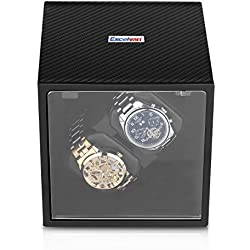 Excelvan Double Watch Winder Automatic 2+0 Carbon Fiber Box Automatic Rotation Storage Display Case Black