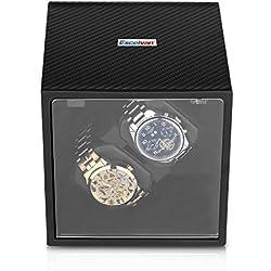 Excelvan Double Watch Winder Automatic 2+0 Carbon Fiber Box Automatic Rotation Storage Display Case Black