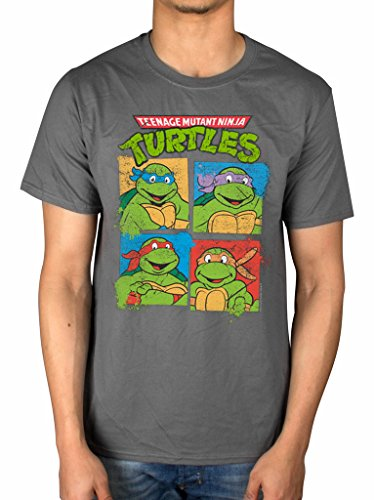 Offizielles Teenage Mutant Ninja Turtles Gruppe T-Shirt Leonardo Donatello Film Movie schwarz anthrazit L