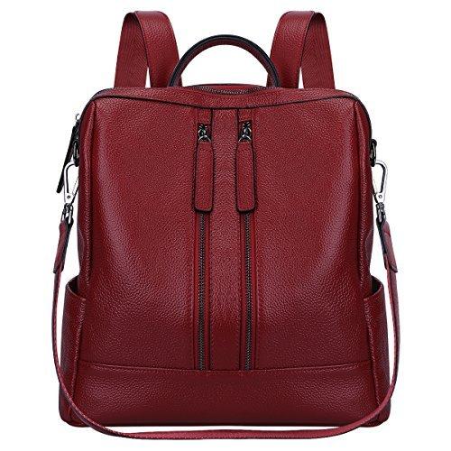 S-ZONE borsa a spalla casual borsa dello zaino di cuoio leggero (vino rosso)