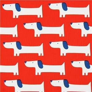 Tissu bio Cloud 9 velours de coton côtelé rouge « Red Rover », chiens Teckels