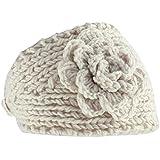 Vococal-Diadema flor de ganchillo / Venda del pelo del Knit del Invierno para Mujer(Beige)
