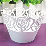 12PAPIER nacré rose vigne dentelle Tasse gâteau Caissettes pour fête d'anniversaire Décorations Maison