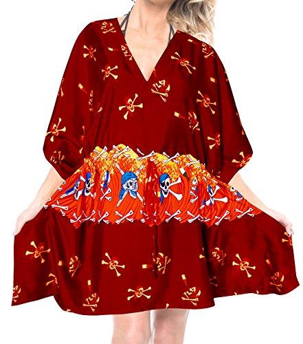 (LA LEELA Schädel Halloween Skelett Kürbis Teufel Kostüm Frauen Kimono Kleid Kaftan roten Badeanzug Bikini Strand Badebekleidung vertuschen)