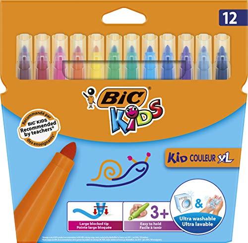 BIC Kids Fasermaler Kid Couleur XL - auswaschbare Filzstifte - 1 x 12 Kinder Filzstifte mit extra dicker Spitze & Form - Ab 3 Jahren - Im Kartonetui