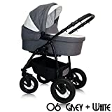 Tabbi Kids | Modell Alpina Eco | 2 in 1 Kombi Kinderwagen | Farbe: Grey White