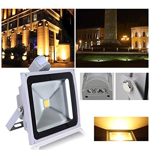 VINGO®10W 20W 30W 100W Warmweiß Kaltweiss LED Strahler Fluter Solarlampe Außen Leuchte Bewegungsmelder Sensorlicht mit Bewegungsmelder (50W Warmweiß)