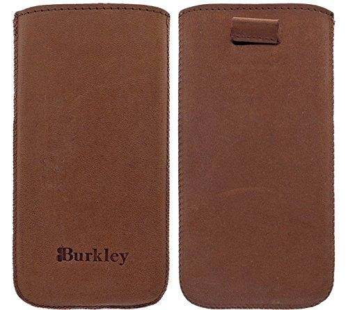 Burkley Apple iPhone SE / 5 / 5S Hülle Leder Handyhülle | Handytasche | Tasche | Schutzhülle | Lederhülle | Ledertasche | Pouch | Sleeve | Cover | Case Etui | Handgefertigt mit Easy-Out System (Kaffee Braun)