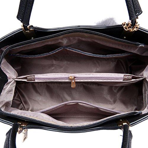 YouPue 2 Stück Set Praktisch Damen Handtaschen Kunstleder Henkeltaschen + Umhängetasche Crossbody Tasche Schwarz(2pcs)