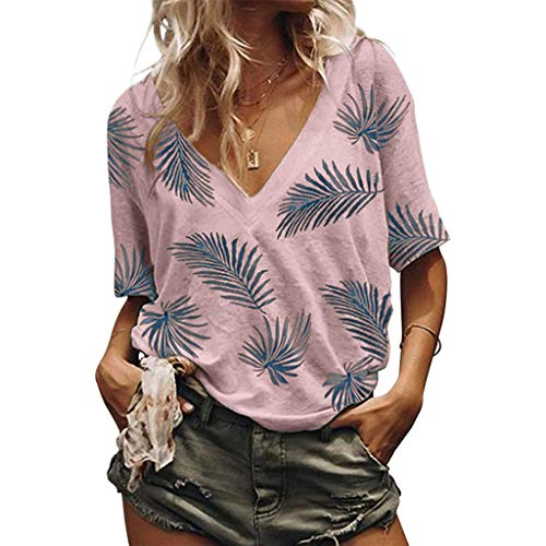 WawerBlumenhemd V-Necked T-Shirt, Sommer Locker gestreiftes Kurzarm-Oberteil,V Ausschnitt Freizeit Reisen Urlaub Hüftgurt with Blattmuster T-Shirt
