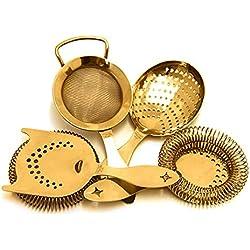 Chapado en oro Bonzer Heritage - Hawthorne juego de colador de gusanillo, Julepe, tamiz fino y colador de muelles Julepe