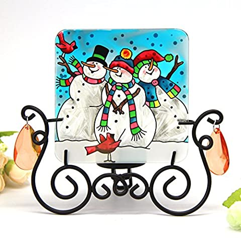 Hand Painted Art Glass Tea Light Candle Holder Table Topper Candleware Holiday Decor (Snowmen)