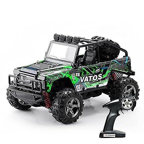 (Verbessert) Vatos RC Modell Auto 1:22, elektrischer RC Offroad Jeep, ferngesteuertes Auto mit 40km/h Highspeed, 4x4 Antrieb, 2.4GHz Fernsteuerung bis 50m, 4WD RC Monster Truck Buggy mit LED