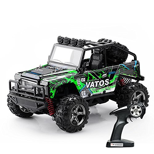 Off-road Truck Monster Rc 4x4 ((Verbessert) Vatos RC Modell Auto 1:22, elektrischer RC Offroad Jeep, ferngesteuertes Auto mit 40km/h Highspeed, 4x4 Antrieb, 2.4GHz Fernsteuerung bis 50m, 4WD RC Monster Truck Buggy mit LED Licht)